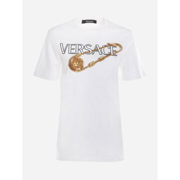 Versace Cotton T-shirt With Safety Pin Embellished With Crystals