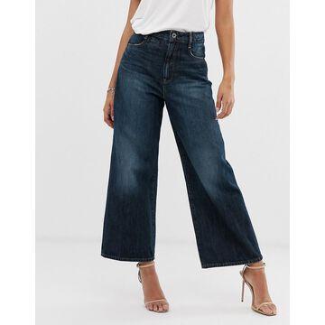 G-Star organic cotton cropped wide leg jean-Blue