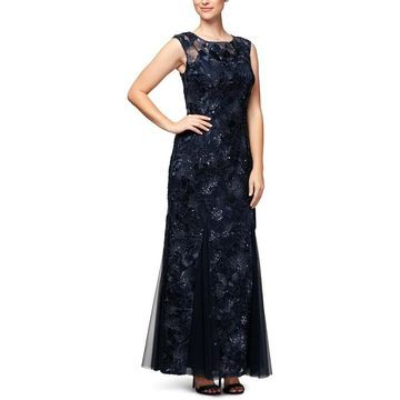 Alex Evenings Womens Evening Dress Sequined Fit & Flare