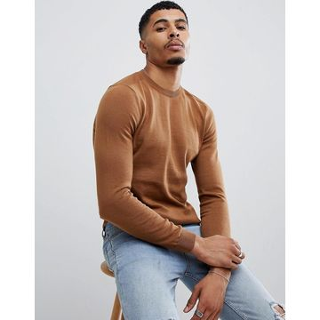New Look sweater with crew neck in tan