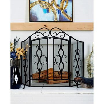 Traditional 40 x 60 Inch Wrought Iron Footed Fire Screen by Studio 350 (Blue)
