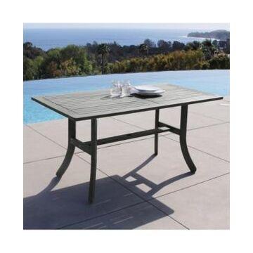 Vifah Renaissance Outdoor Patio Hand-Scraped Wood Rectangular Dining Table with Curvy Legs