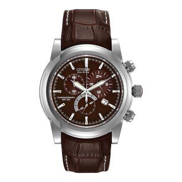 Citizen Chandler Mens Brown Strap Watch-At0550-11x
