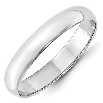 10K White Gold 4mm Polished Lightweight Half Round Band by Versil (7.5)