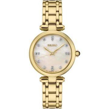 Seiko Women's Diamond (1/8 ct. t.w.) Gold-Tone Stainless Steel Bracelet Watch 30mm