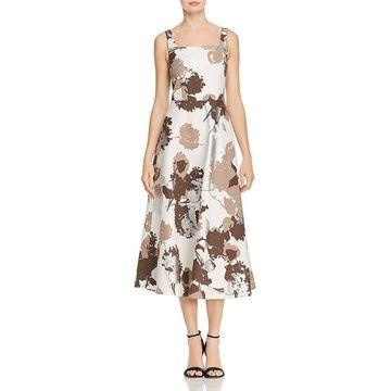 Lafayette 148 New York Womens Arlene Linen Metallic Midi Dress