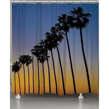 Laural Home Sunset Palms Shower Curtain Bedding