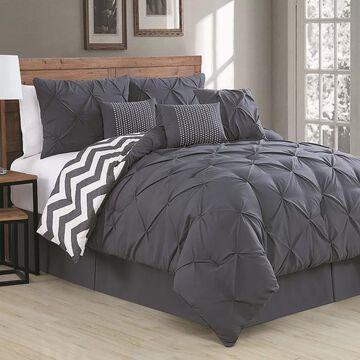 Avondale Manor Ella Pinch Pleat Comforter Set, Dark Grey, King